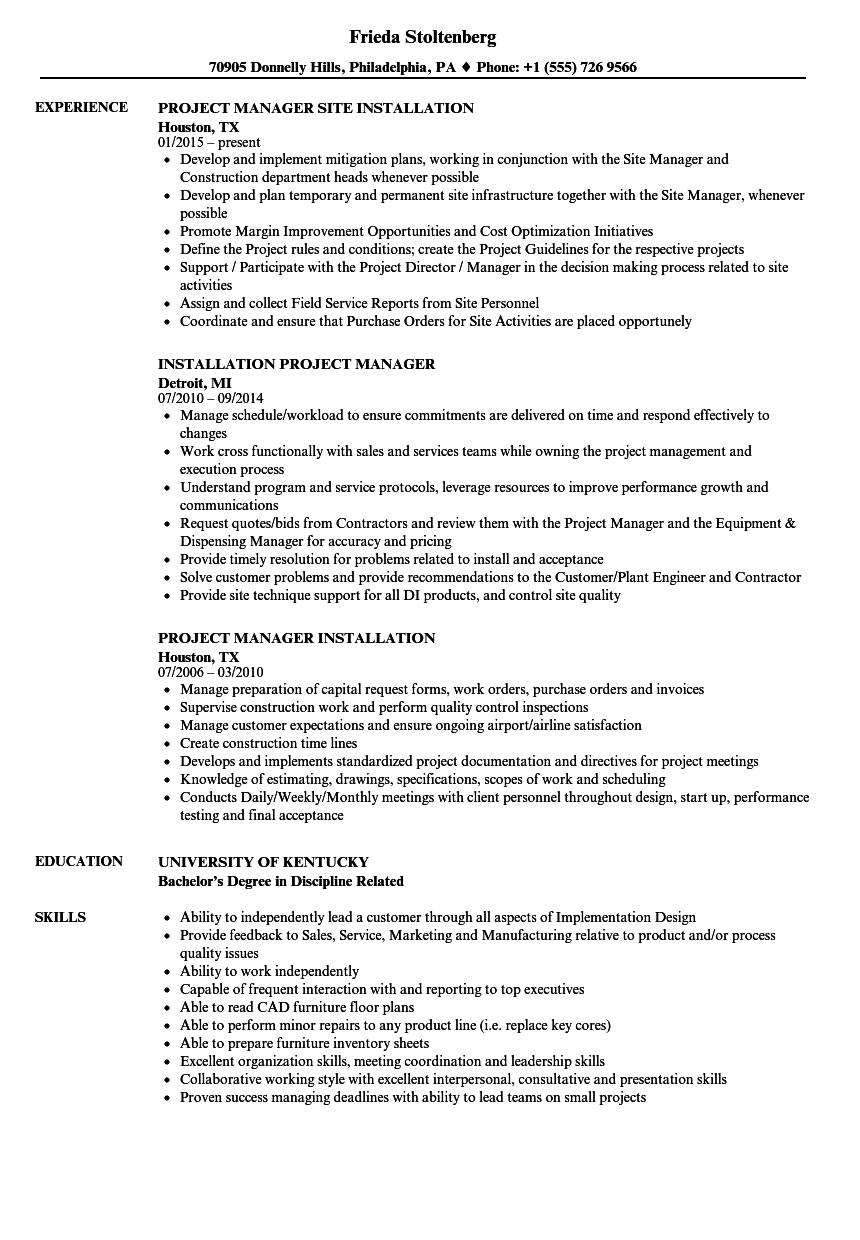 installation project manager resume samples