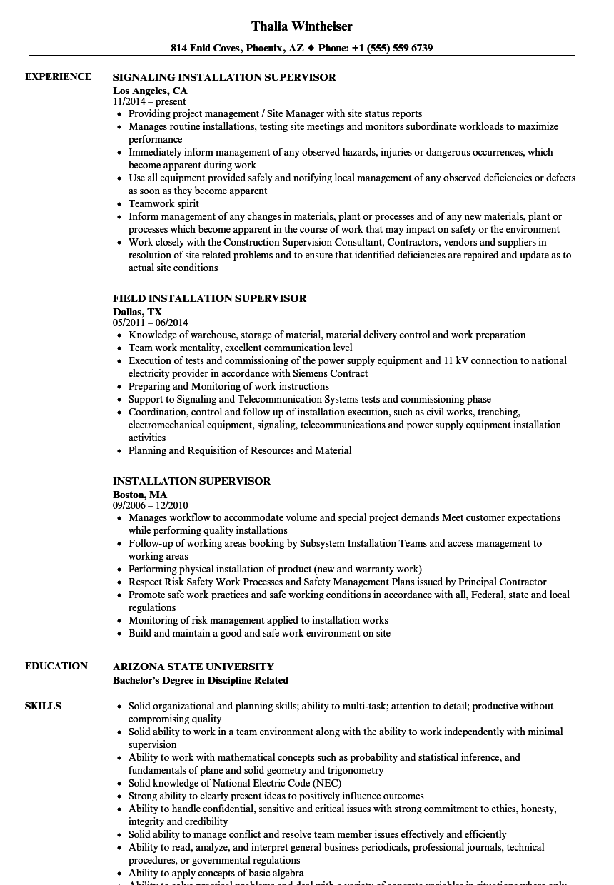 Installation Supervisor Resume Samples | Velvet Jobs