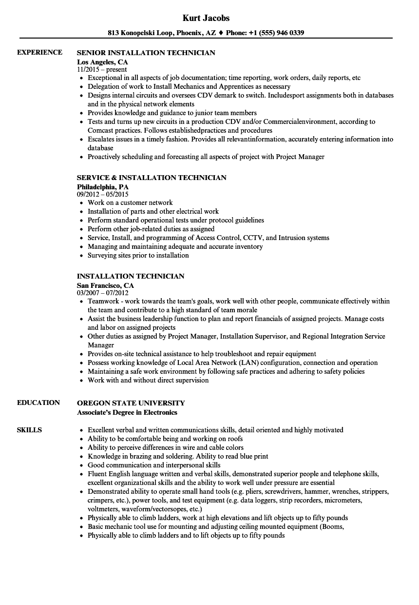 Installation Technician Resume Samples | Velvet Jobs