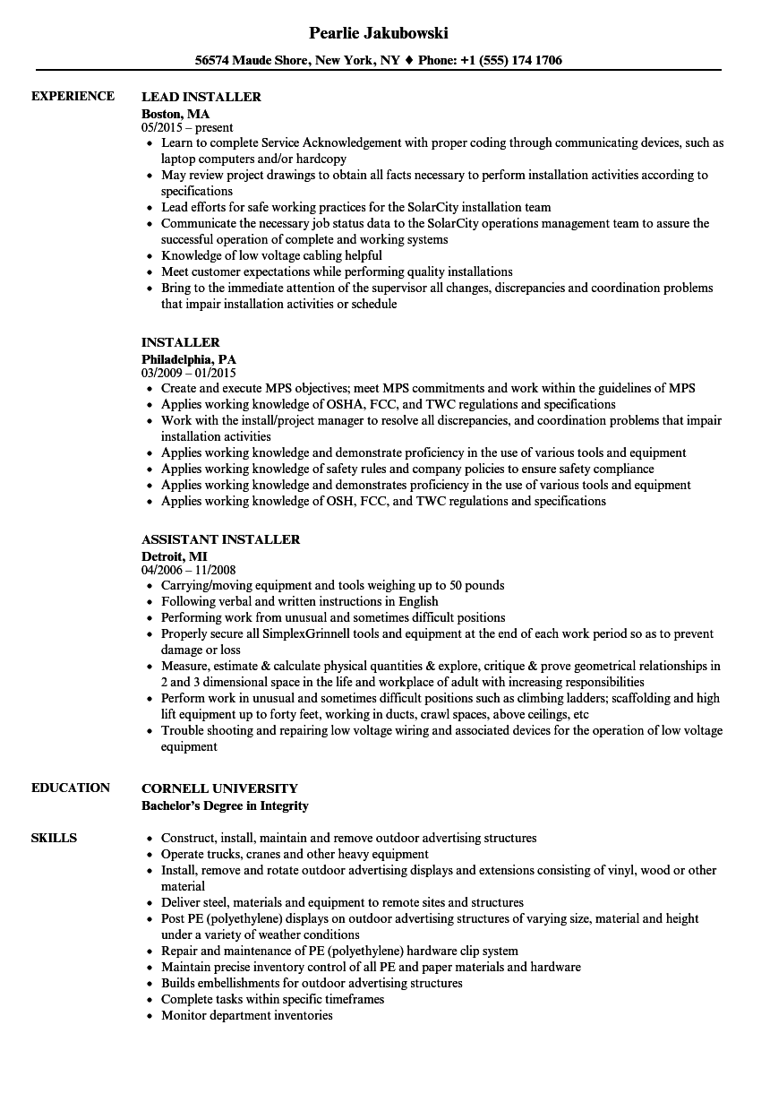 Installer Resume Samples | Velvet Jobs