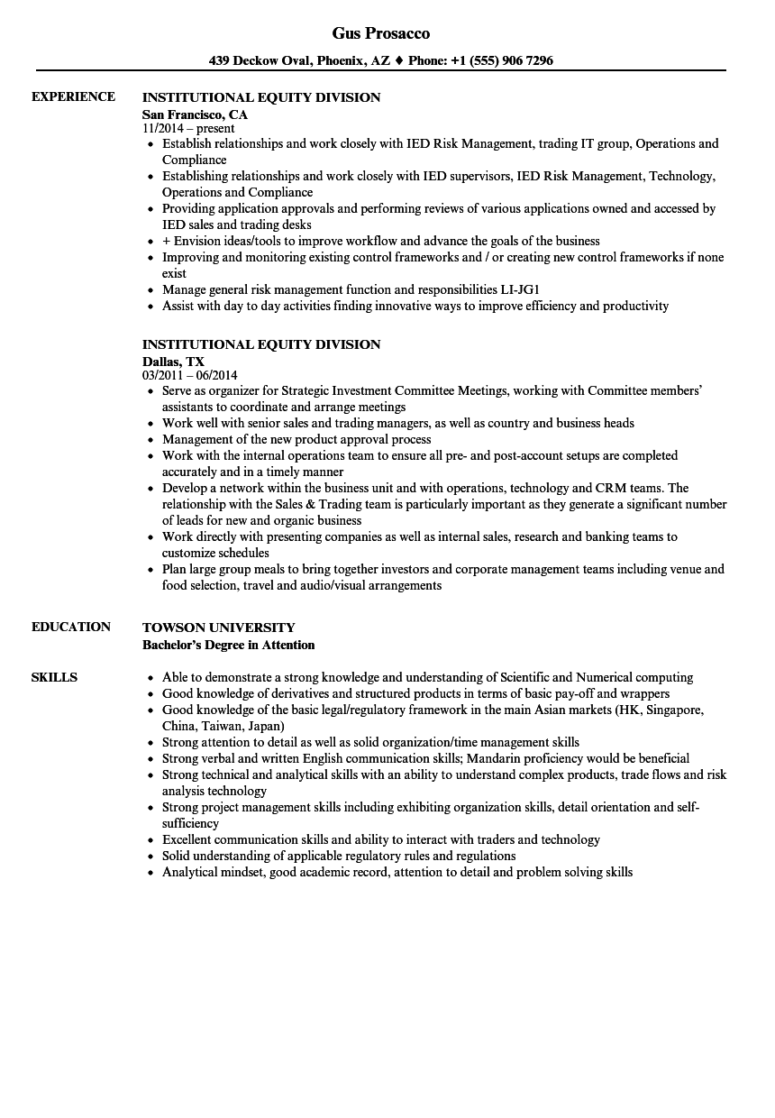 institutional equity division resume samples