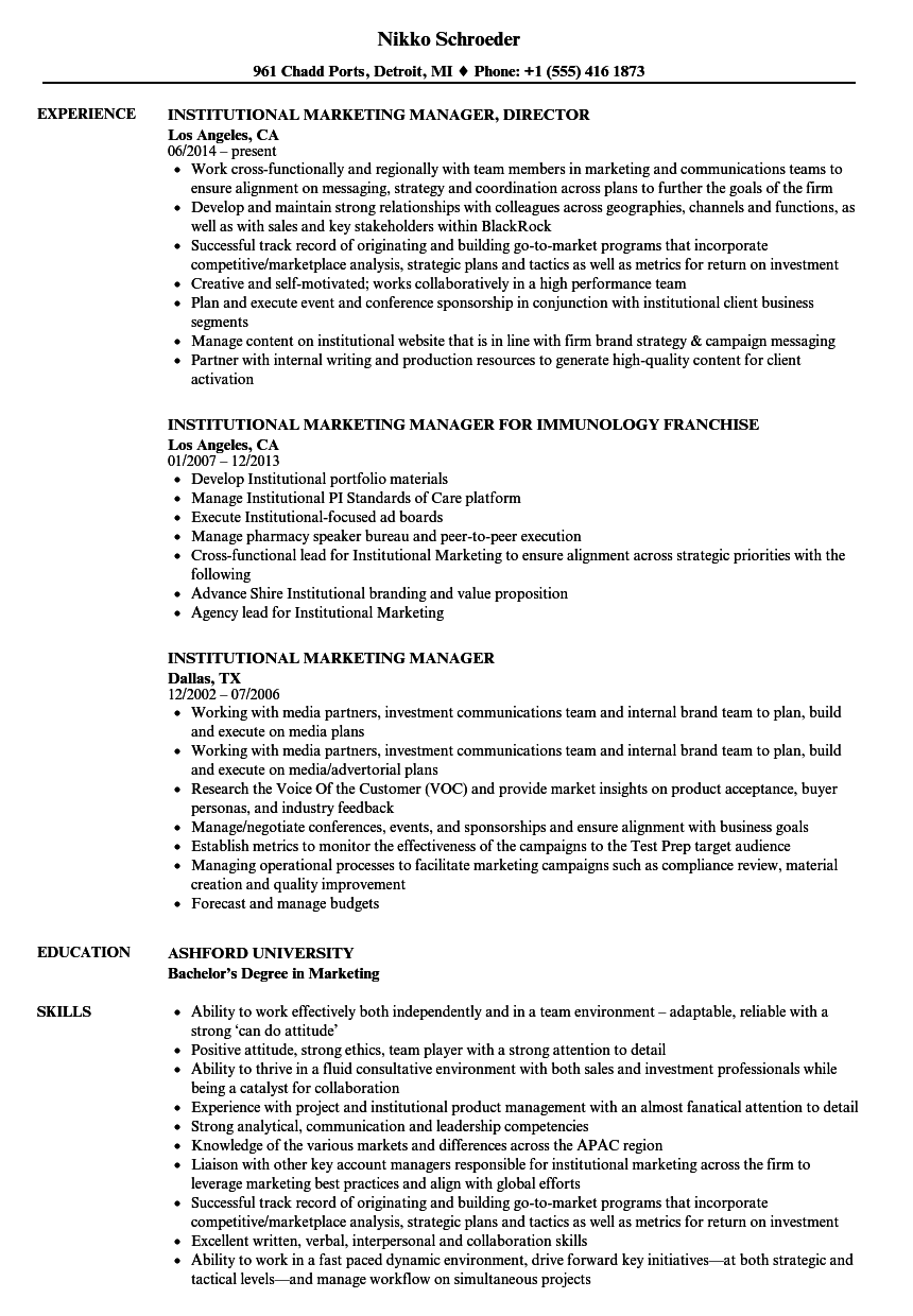 Institutional Marketing Manager Resume Samples | Velvet Jobs