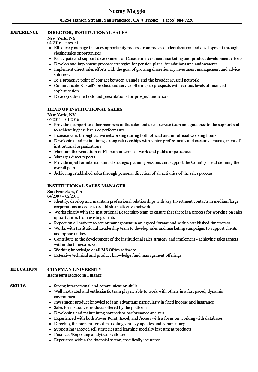 Institutional Sales Resume Samples | Velvet Jobs