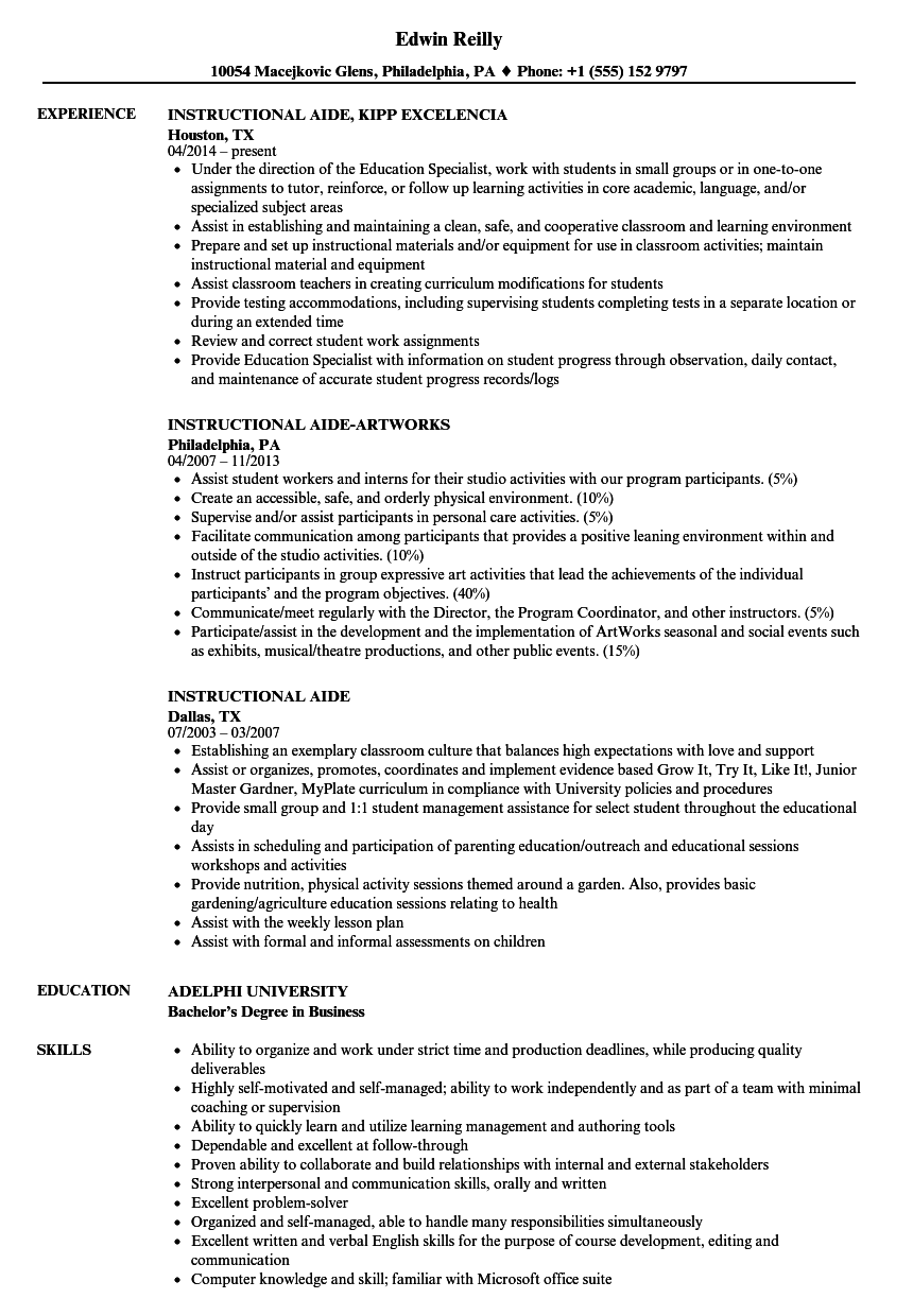 Download Instructional Aide Resume Sample As Image File