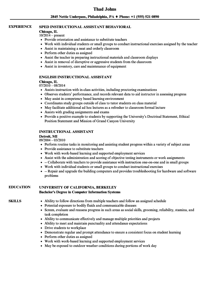 Download Instructional Assistant Resume Sample As Image File