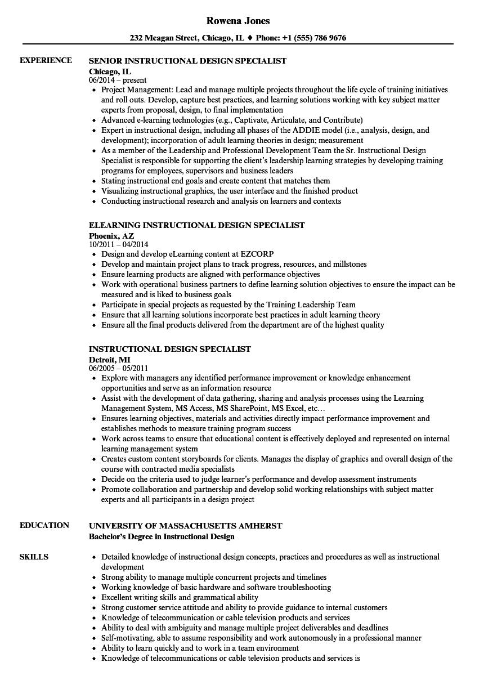 instructional design specialist resume samples
