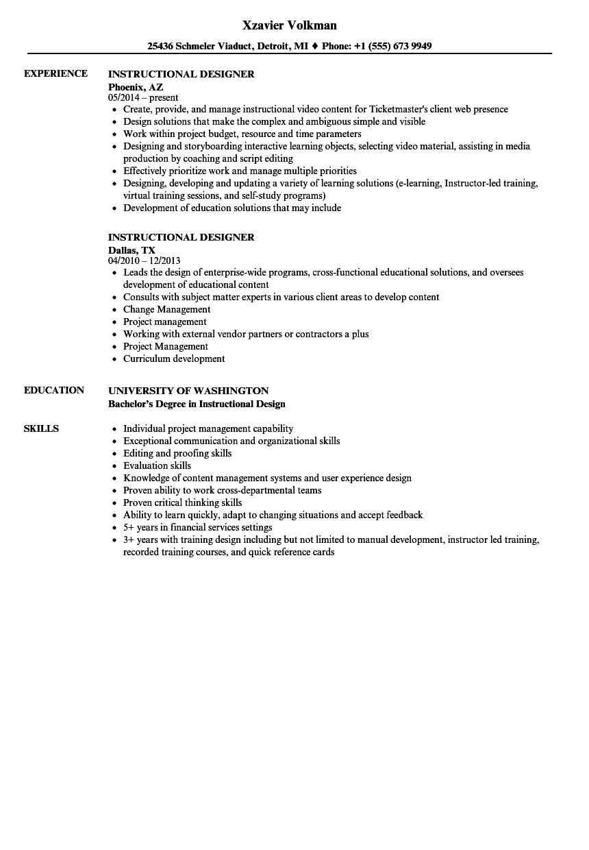 Instructional Designer Resume Samples Velvet Jobs