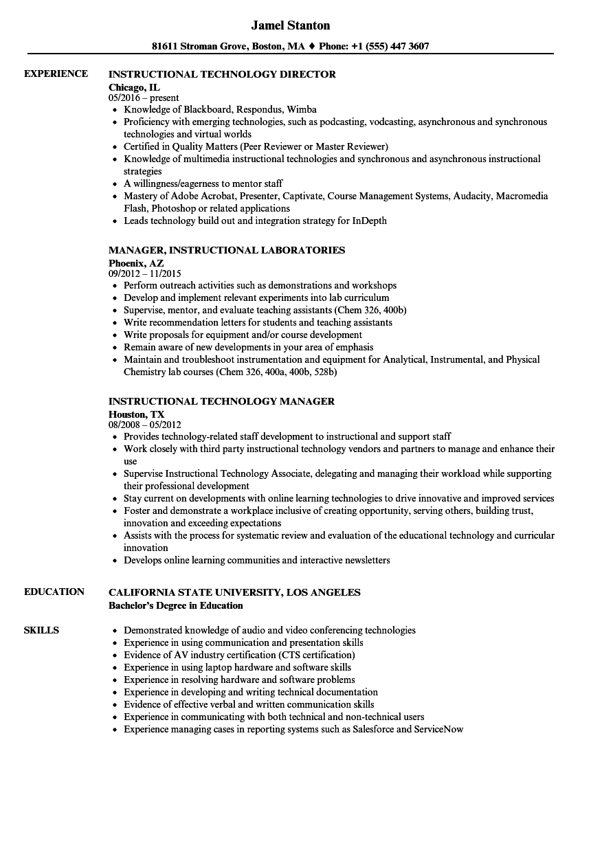 instructional resume samples velvet jobs