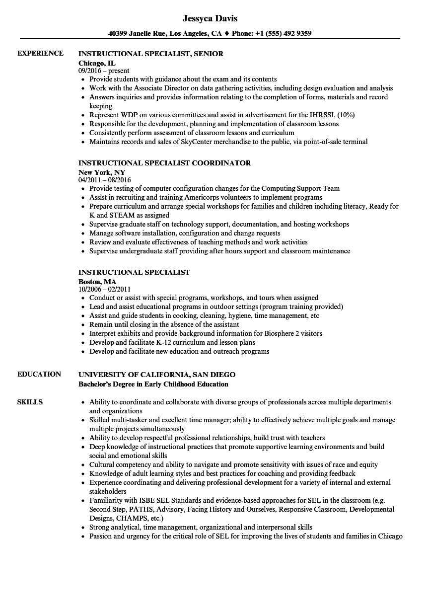 Download Instructional Specialist Resume Sample As Image File  Program Specialist Resume