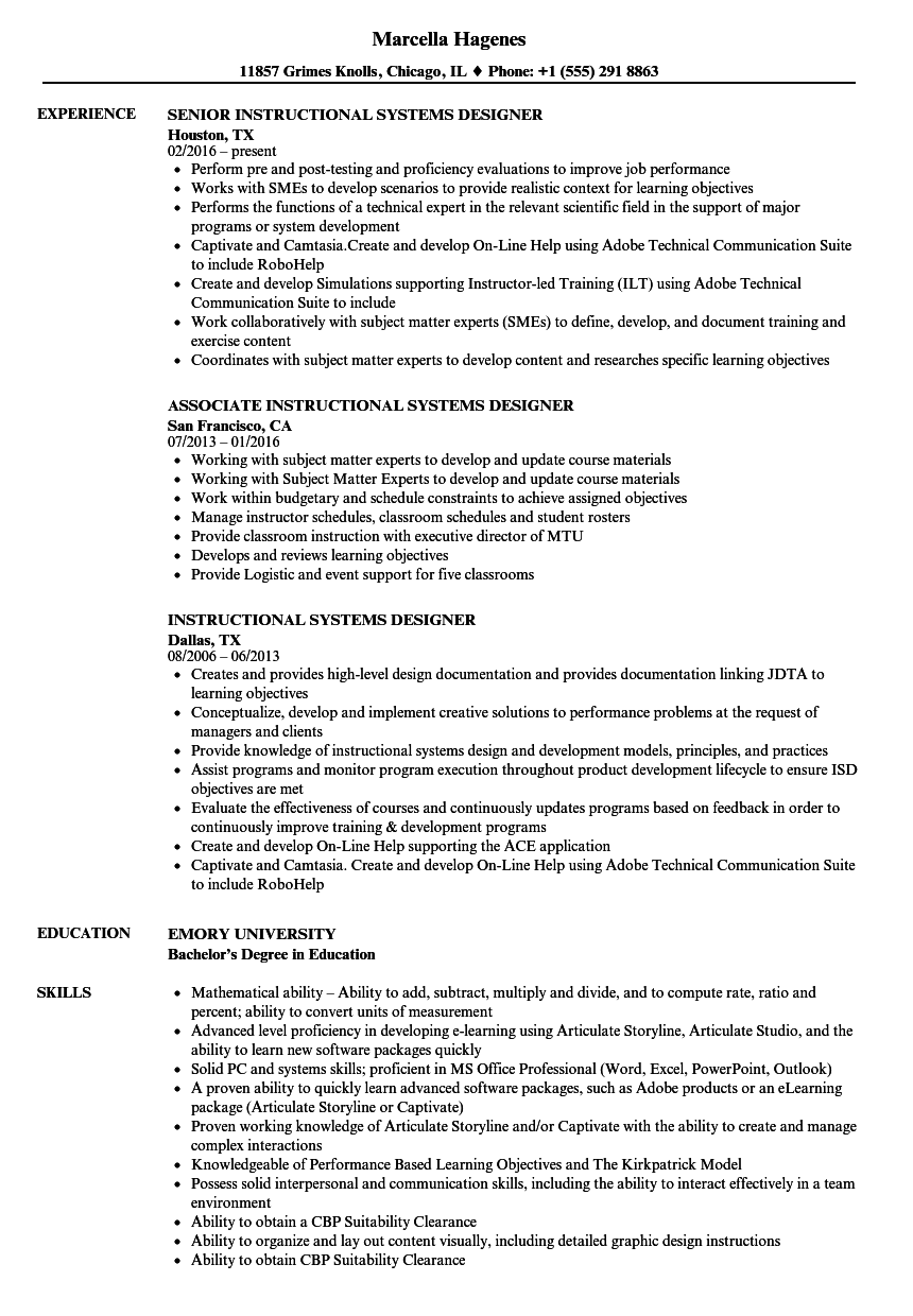 instructional systems designer resume samples