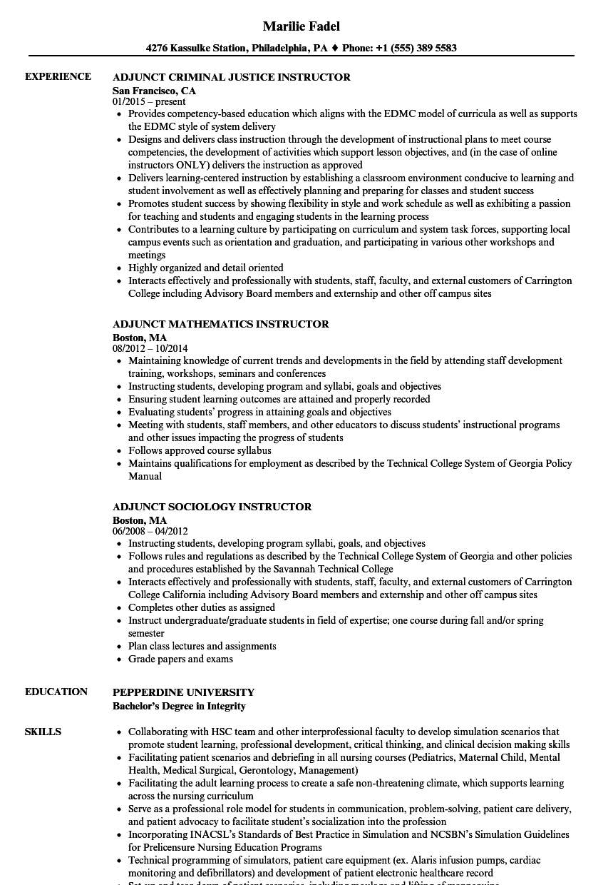 Instructor Adjunct Resume Samples | Velvet Jobs