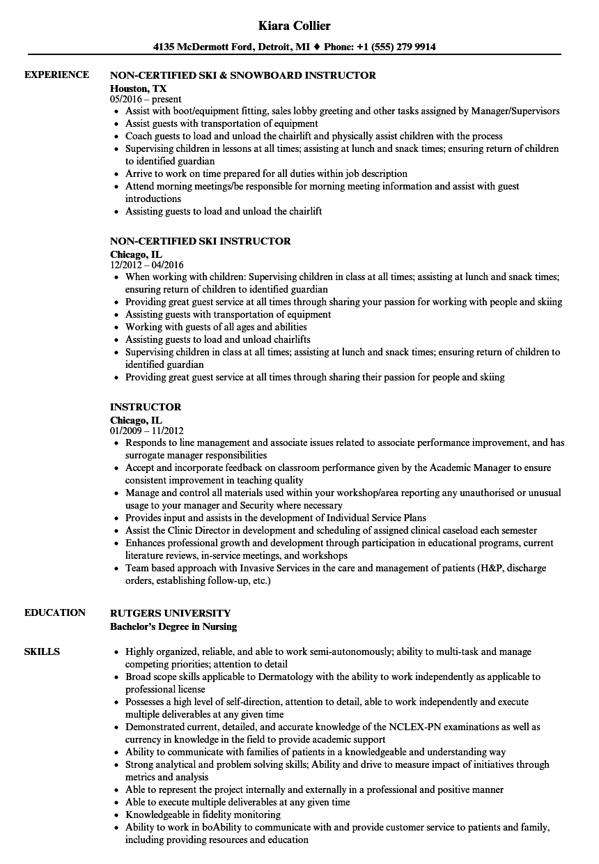 Download Instructor Resume Sample As Image File