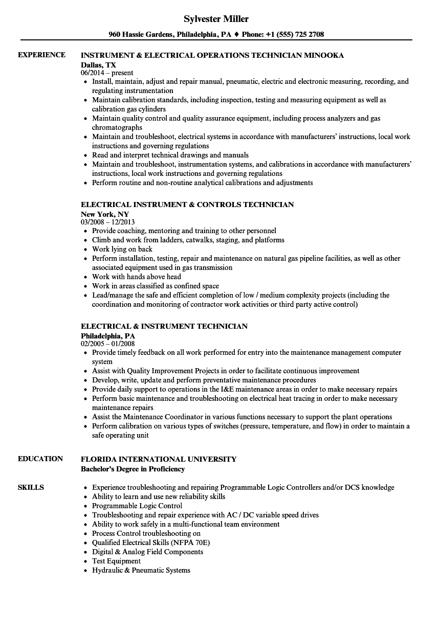 instrument    electrical resume samples
