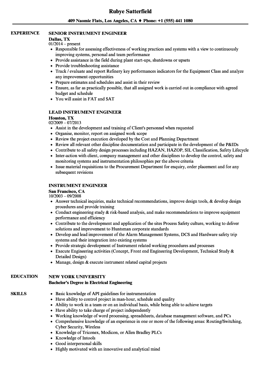 Instrument Engineer Resume Samples Velvet Jobs