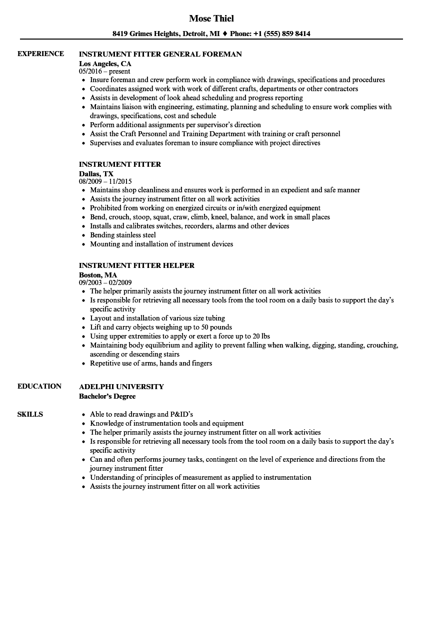 Instrument Fitter Resume Samples Velvet Jobs