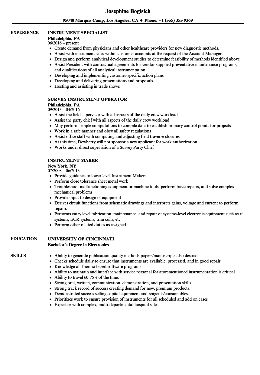 Instrument Resume Samples | Velvet Jobs