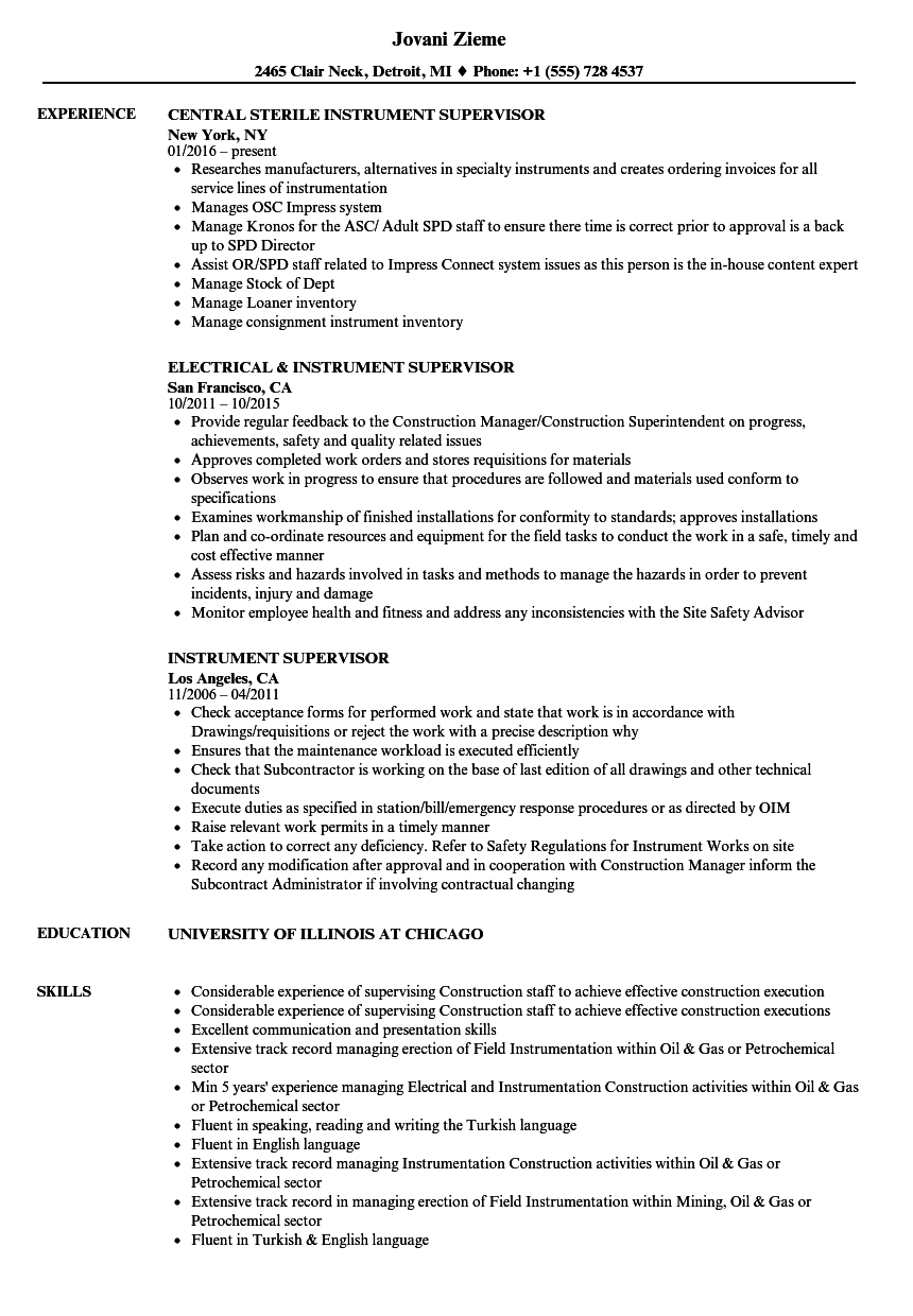 Instrument Supervisor Resume Samples | Velvet Jobs
