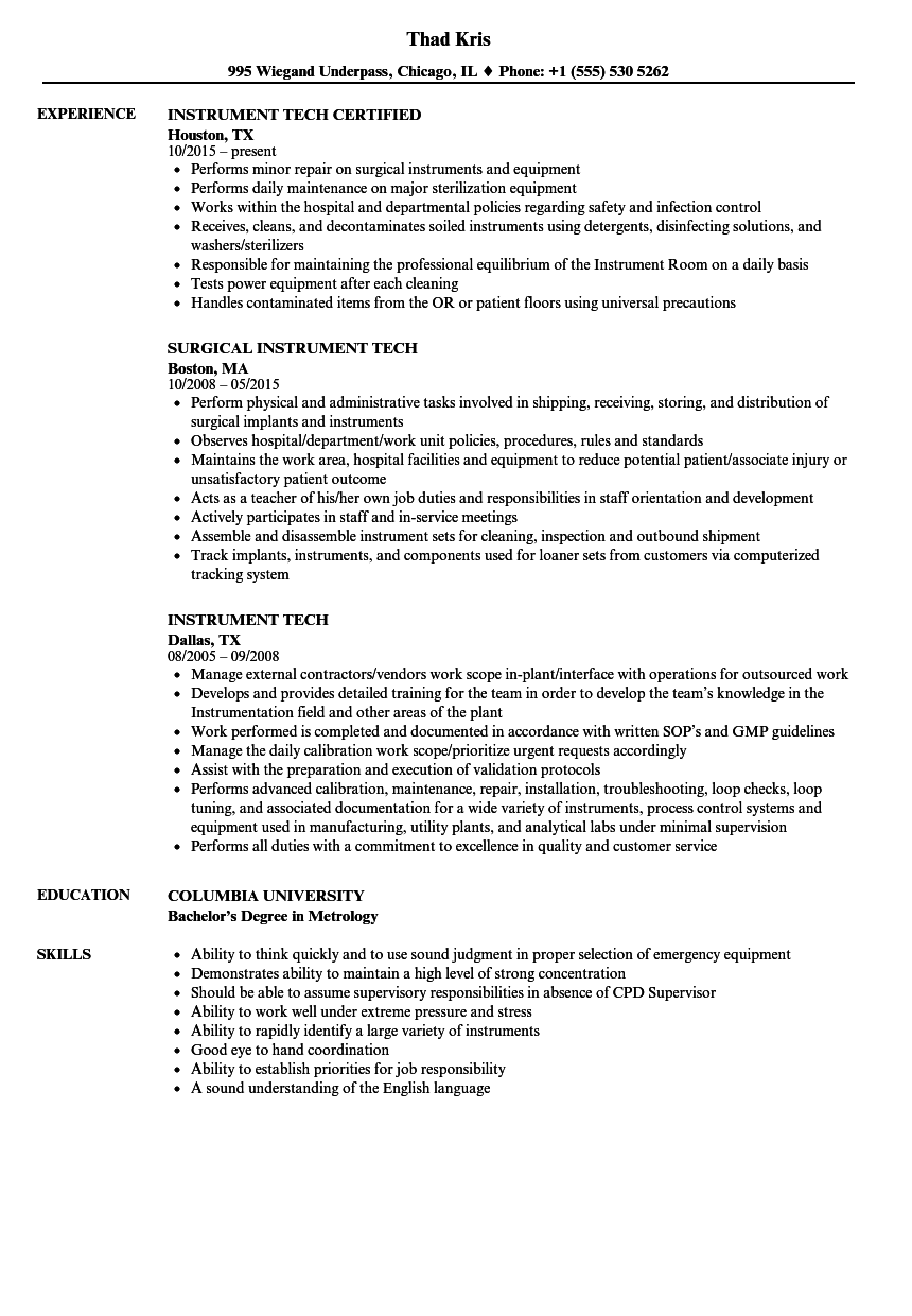 Download Instrument Tech Resume Sample As Image File  Surgical Tech Resume Examples