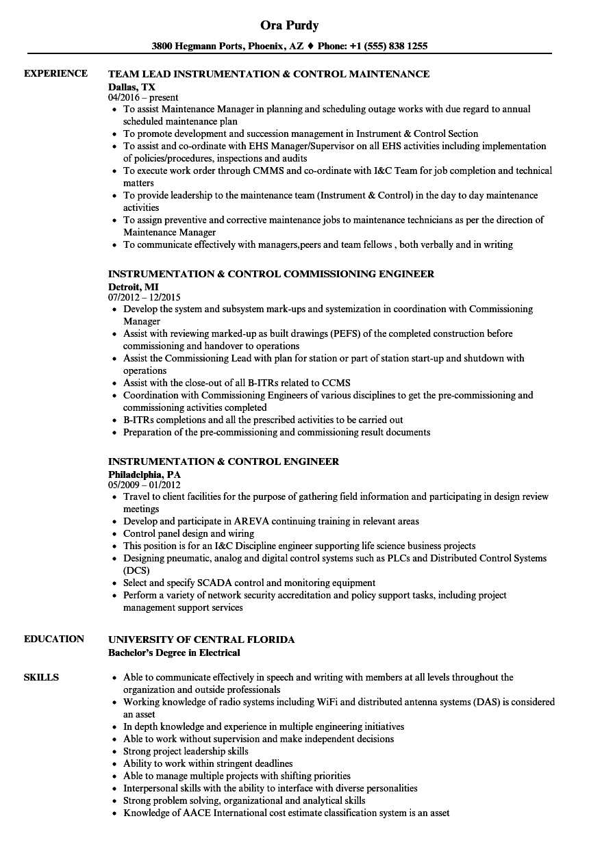 Instrumentation Control Resume Samples Velvet Jobs