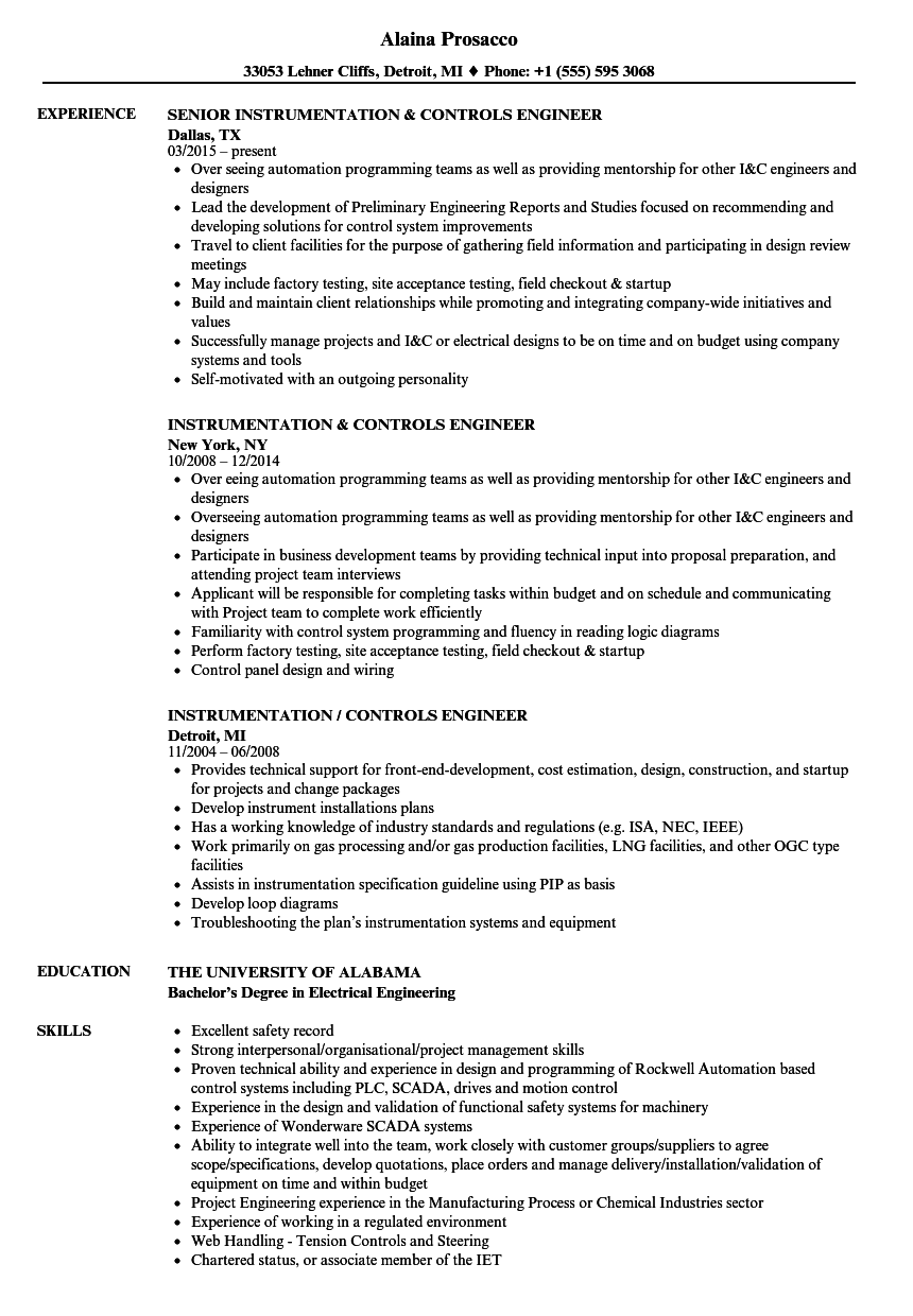 Instrumentation & Controls Engineer Resume Samples | Velvet Jobs