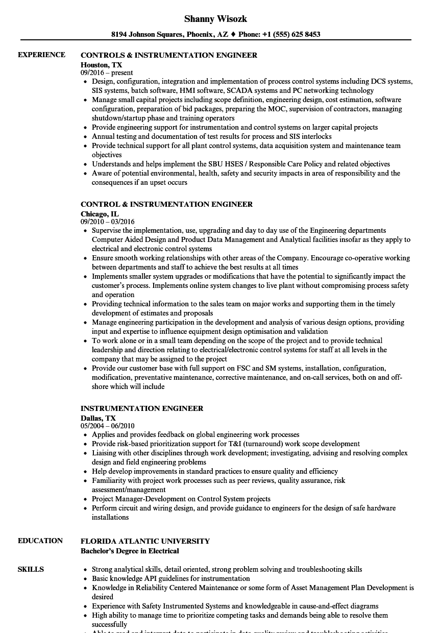 Instrumentation Engineer Resume Samples | Velvet Jobs