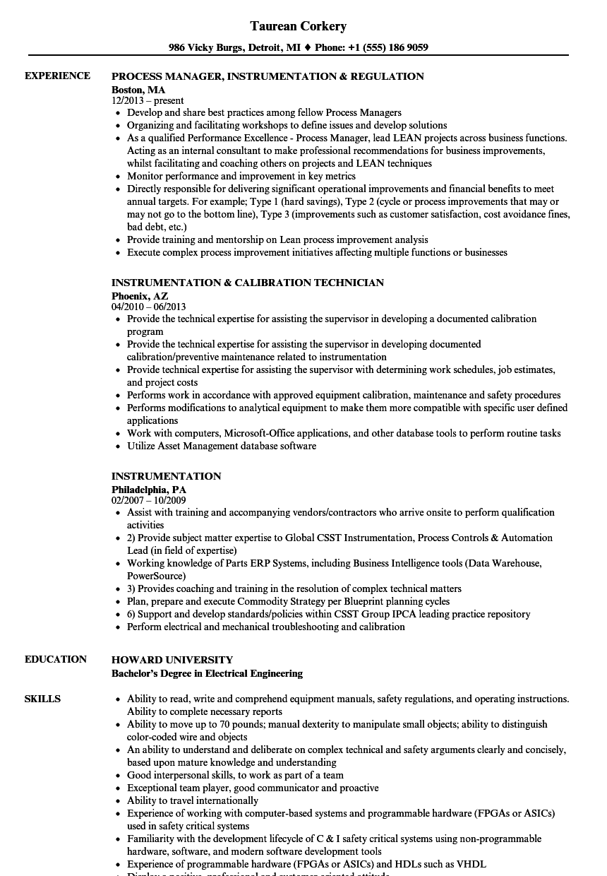 Instrumentation Resume Samples | Velvet Jobs
