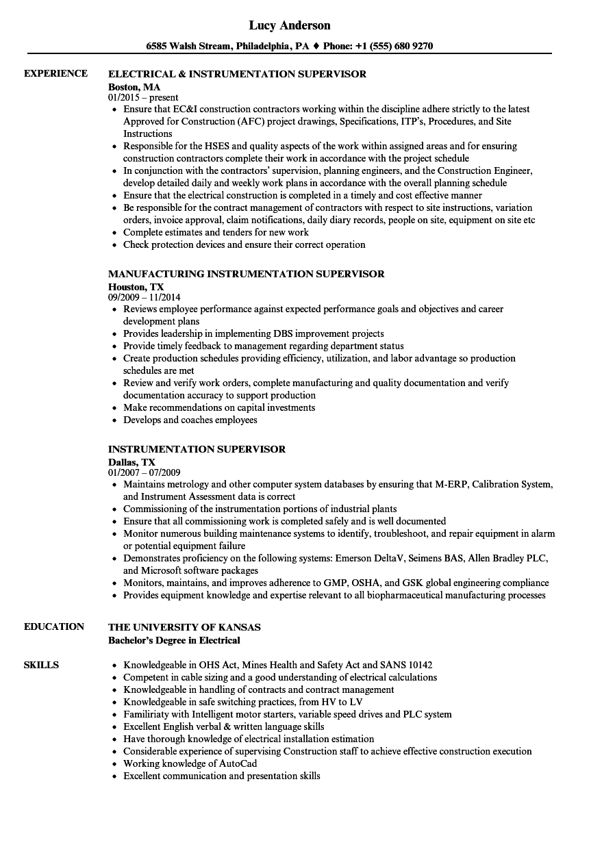 Download Instrumentation Supervisor Resume Sample As Image File