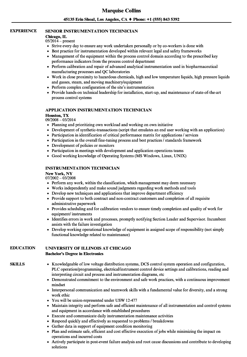 Instrumentation Technician Resume Samples Velvet Jobs