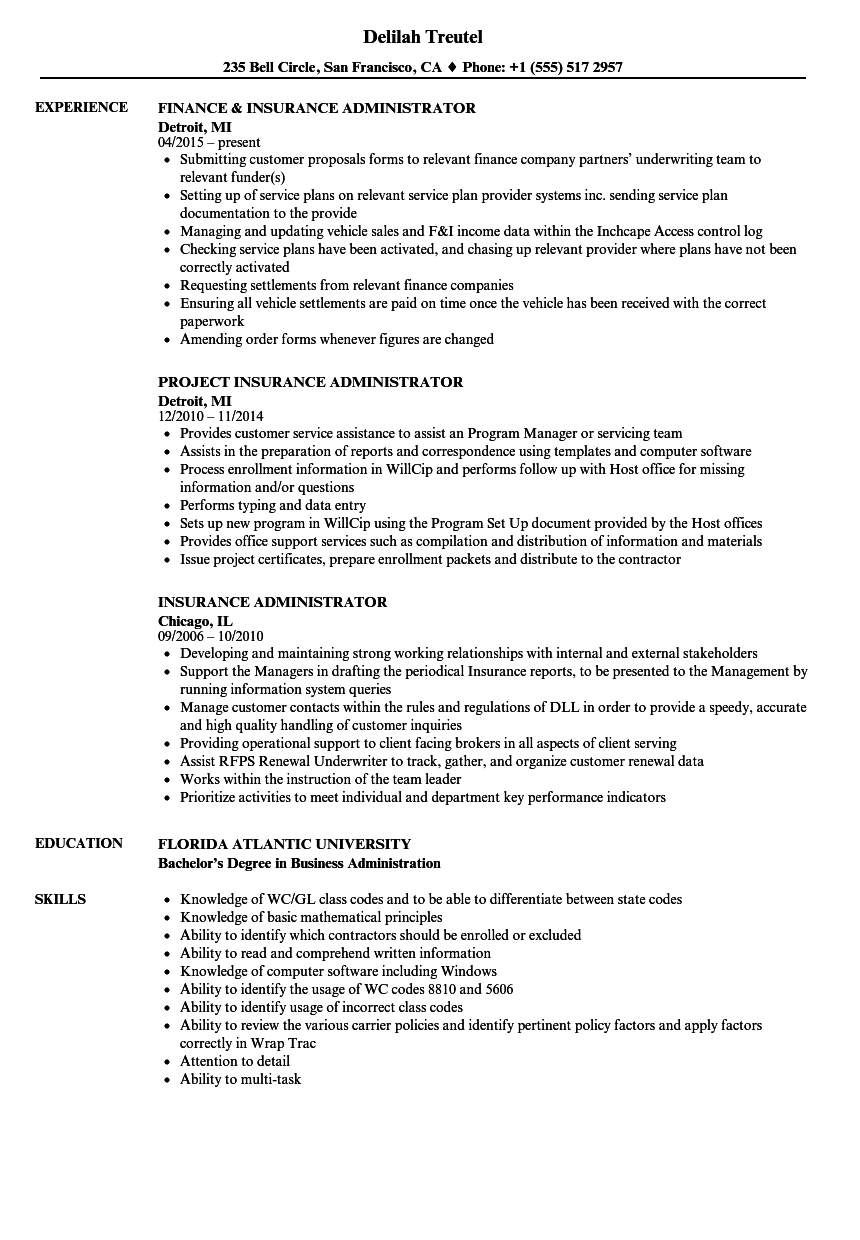 download insurance administrator resume sample as image file - Insurance Resume Examples