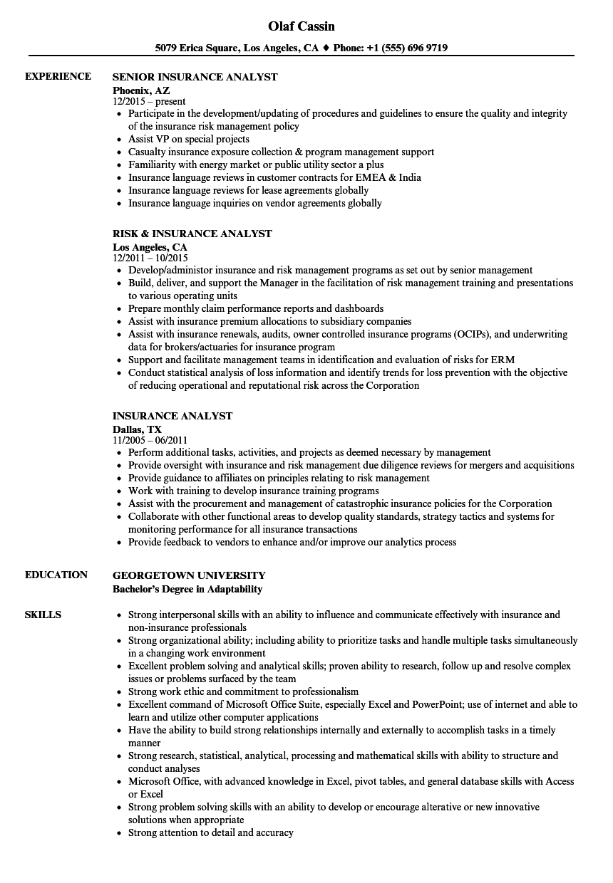 Captivating Download Insurance Analyst Resume Sample As Image File