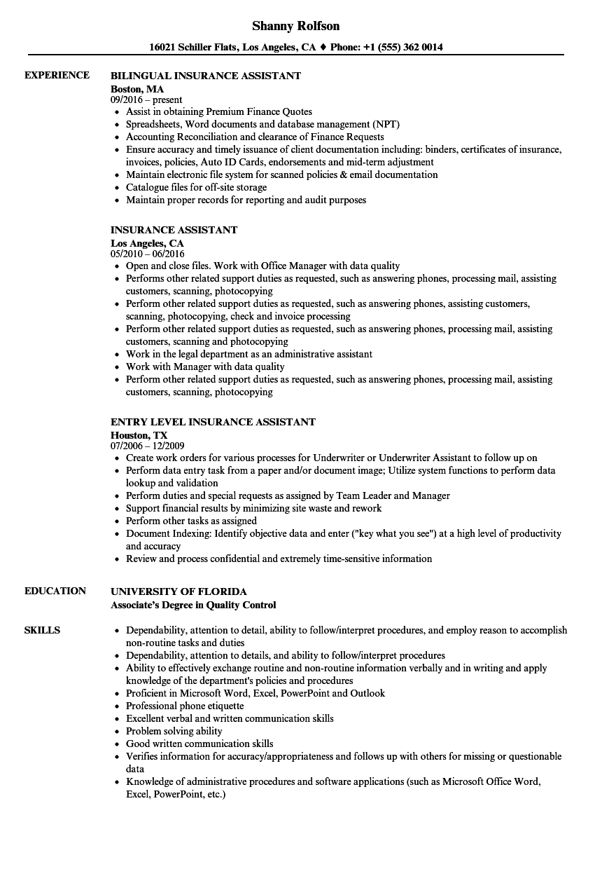 sample insurance assistant resume