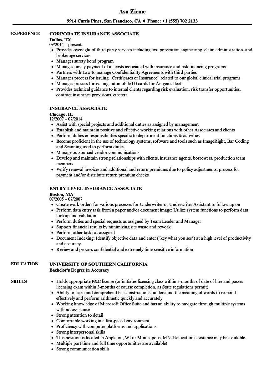 insurance associate resume samples velvet jobs