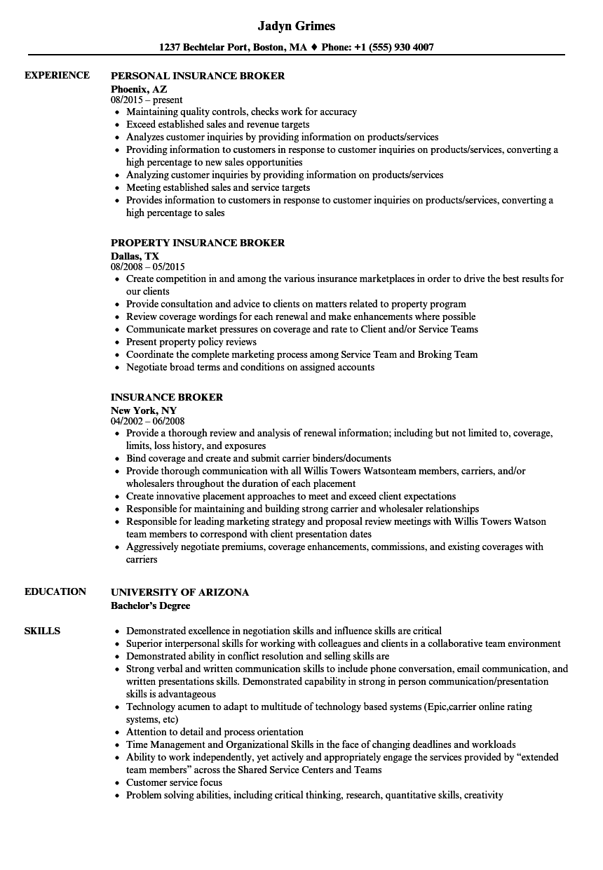 download insurance broker resume sample as image file - Insurance Resume Examples