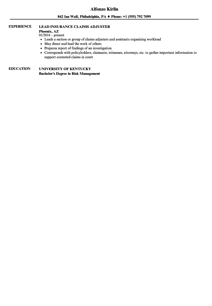 download insurance claims adjuster resume sample as image file