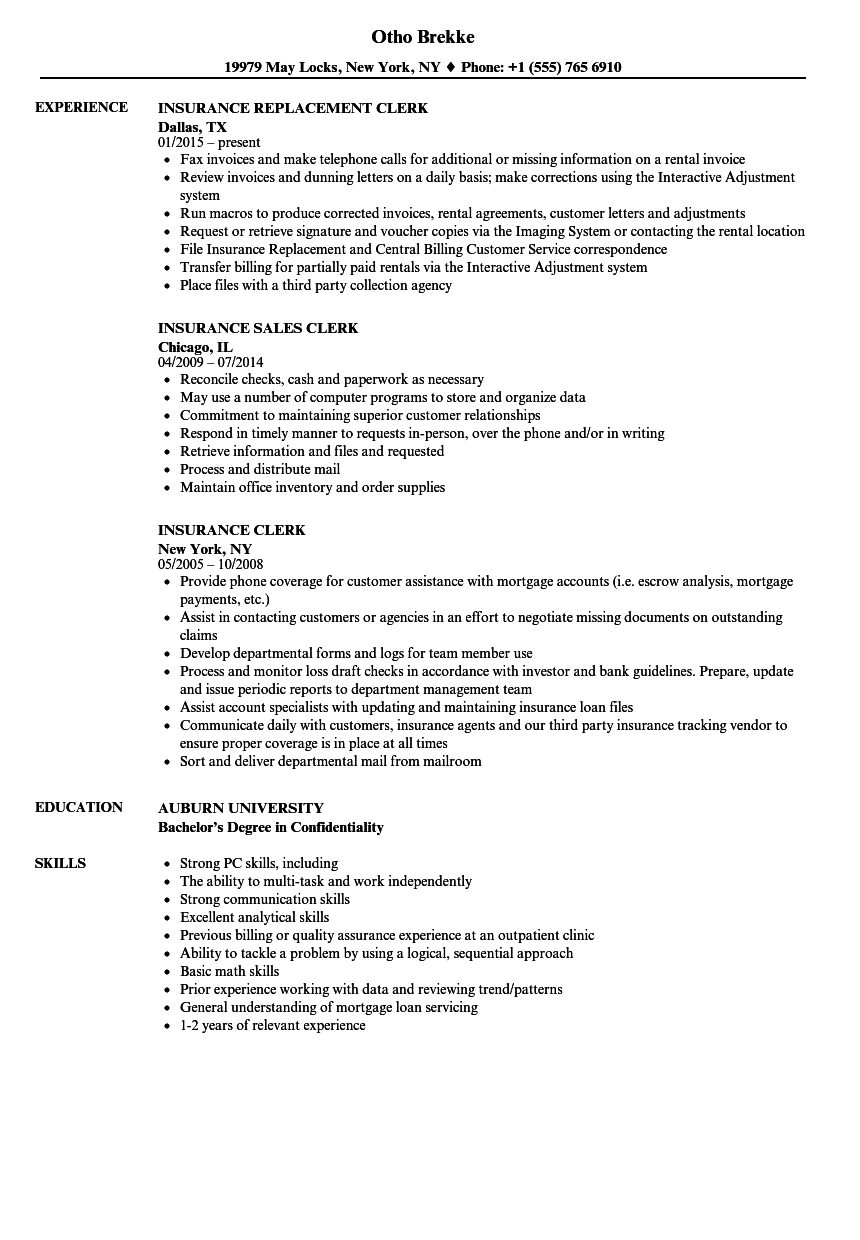 Download Insurance Clerk Resume Sample As Image File