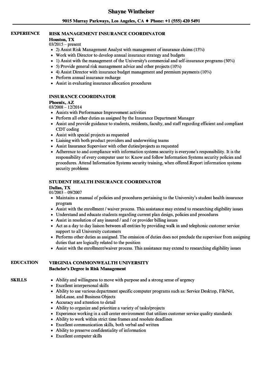 Insurance Coordinator Resume Samples | Velvet Jobs