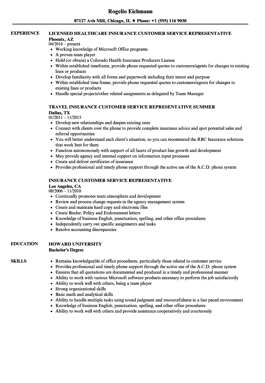 Insurance Customer Service Representative Resume