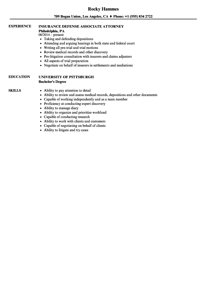 insurance defense attorney resume samples velvet jobs