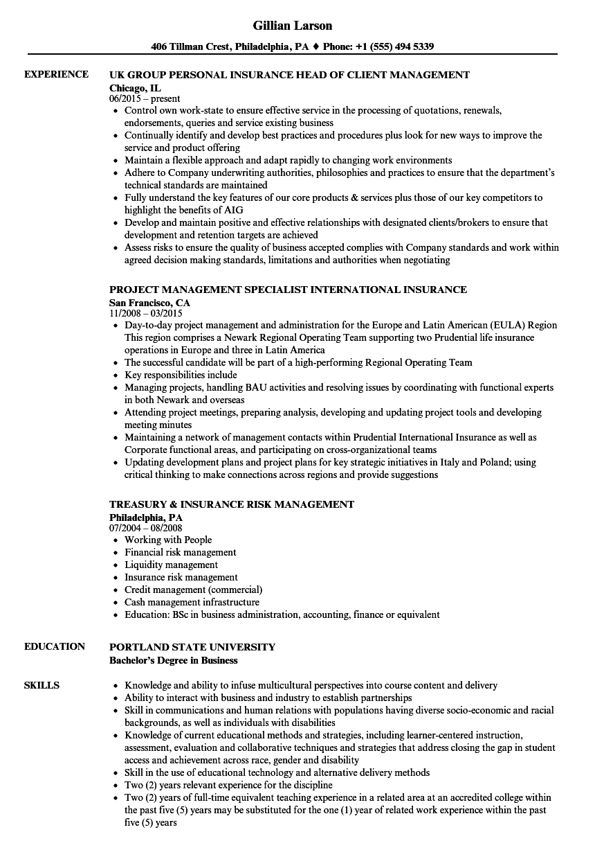 Insurance Management Resume Samples | Velvet Jobs
