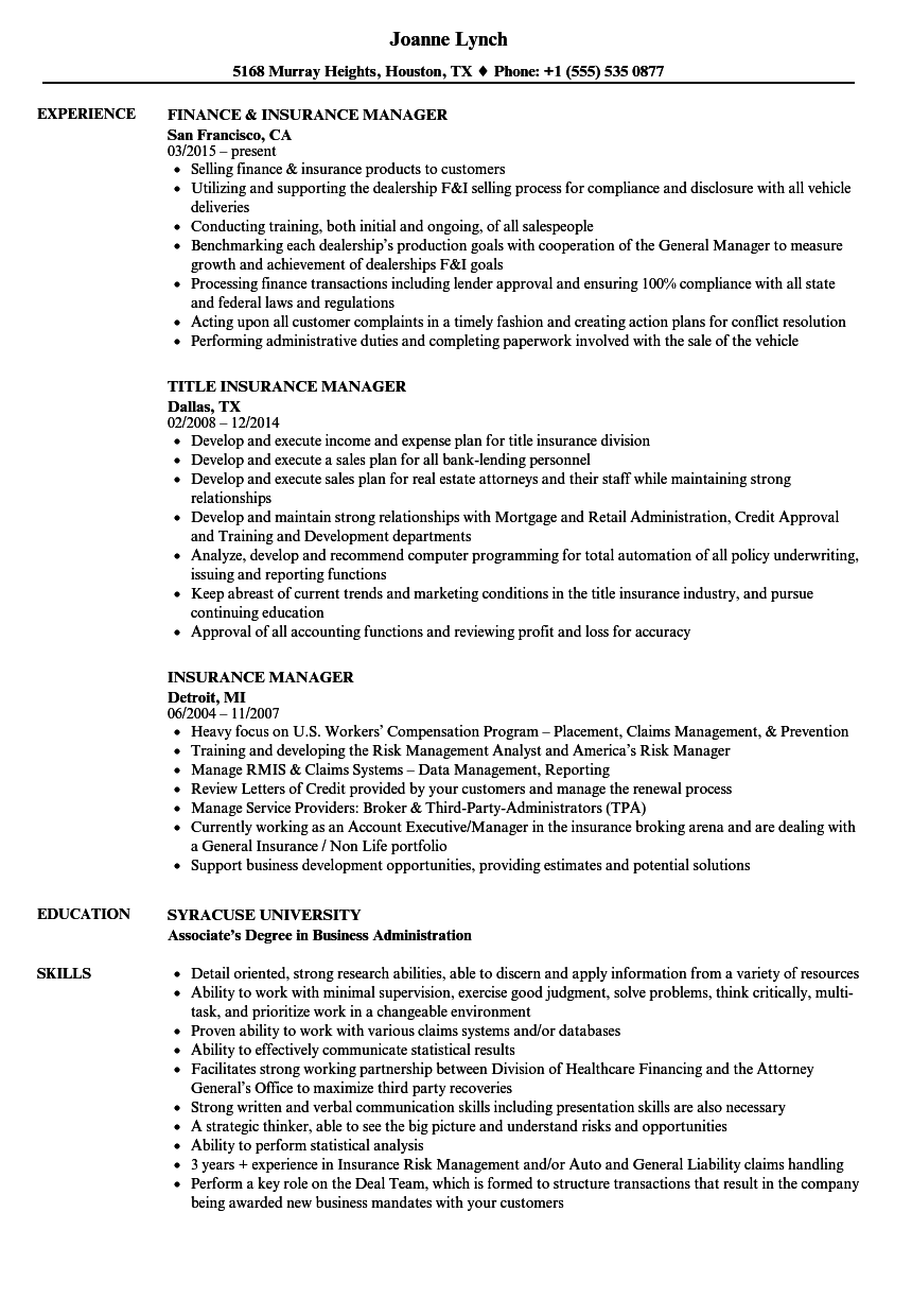 insurance manager resume samples