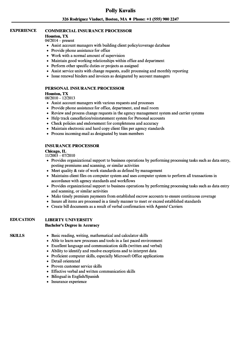 Download Insurance Processor Resume Sample As Image File