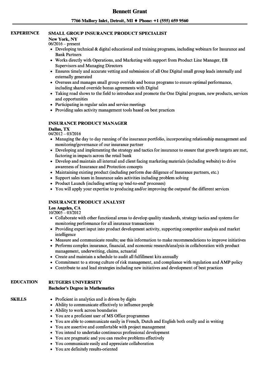 download insurance product resume sample as image file - Insurance Resume Examples