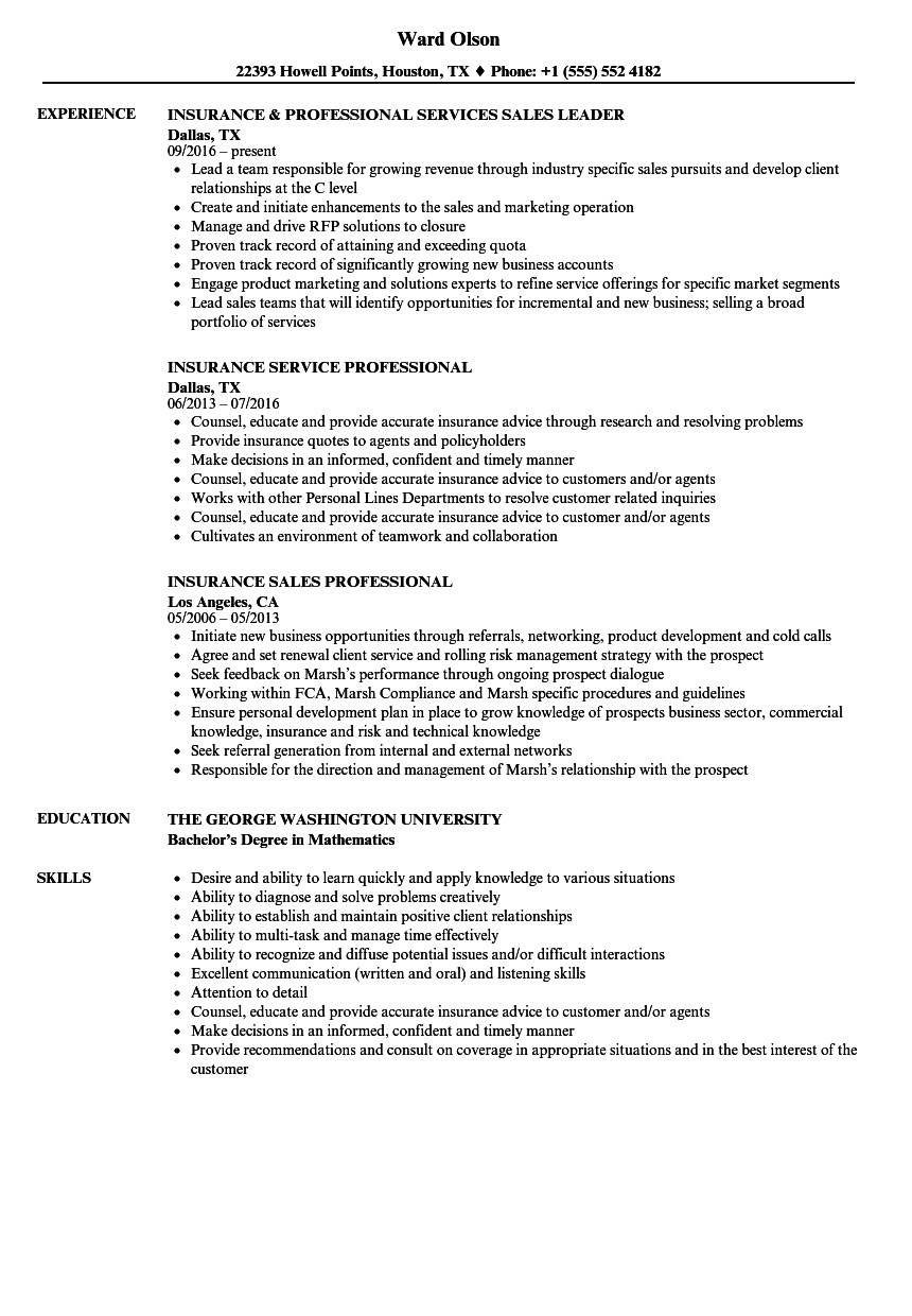 download insurance professional resume sample as image file - Insurance Resume Examples