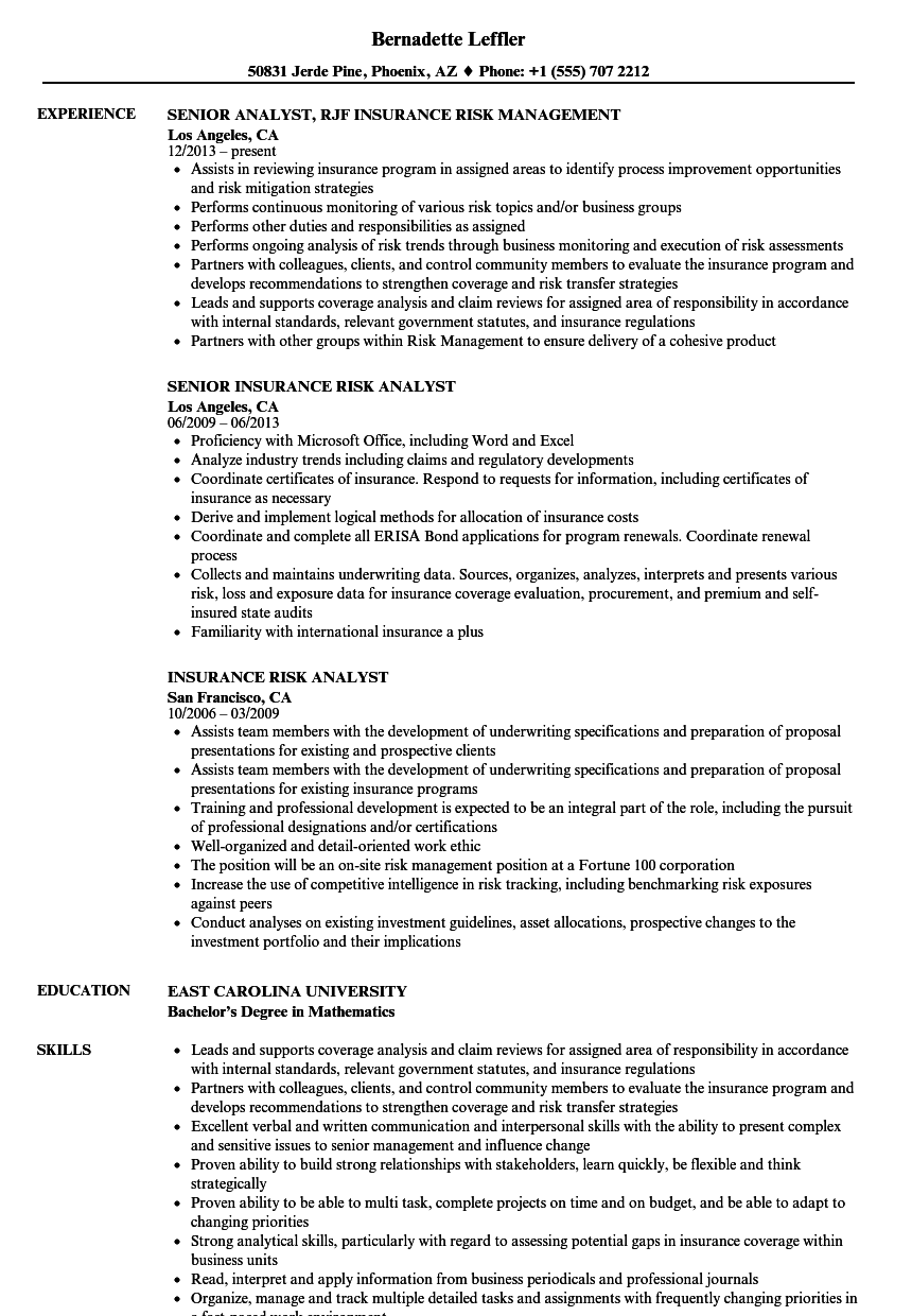 insurance risk analyst resume samples