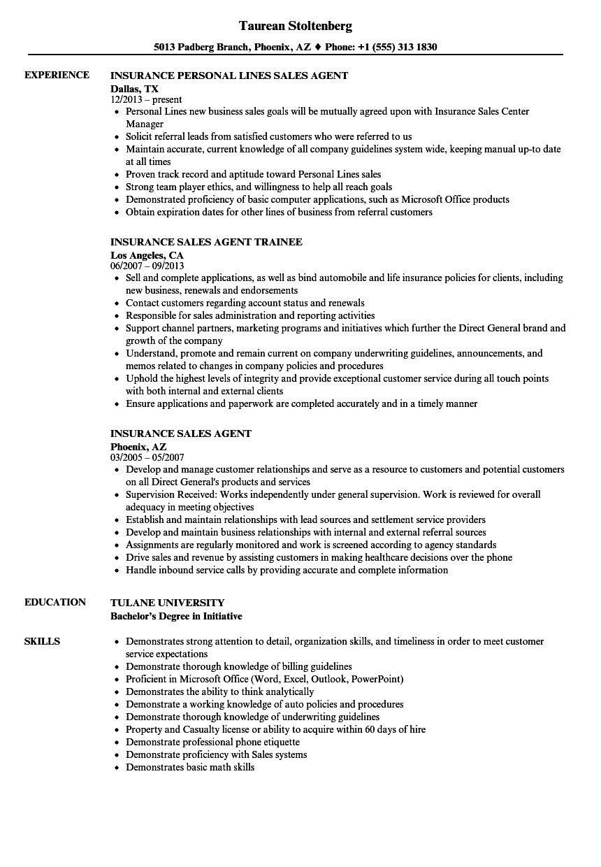 insurance sales agent resume samples