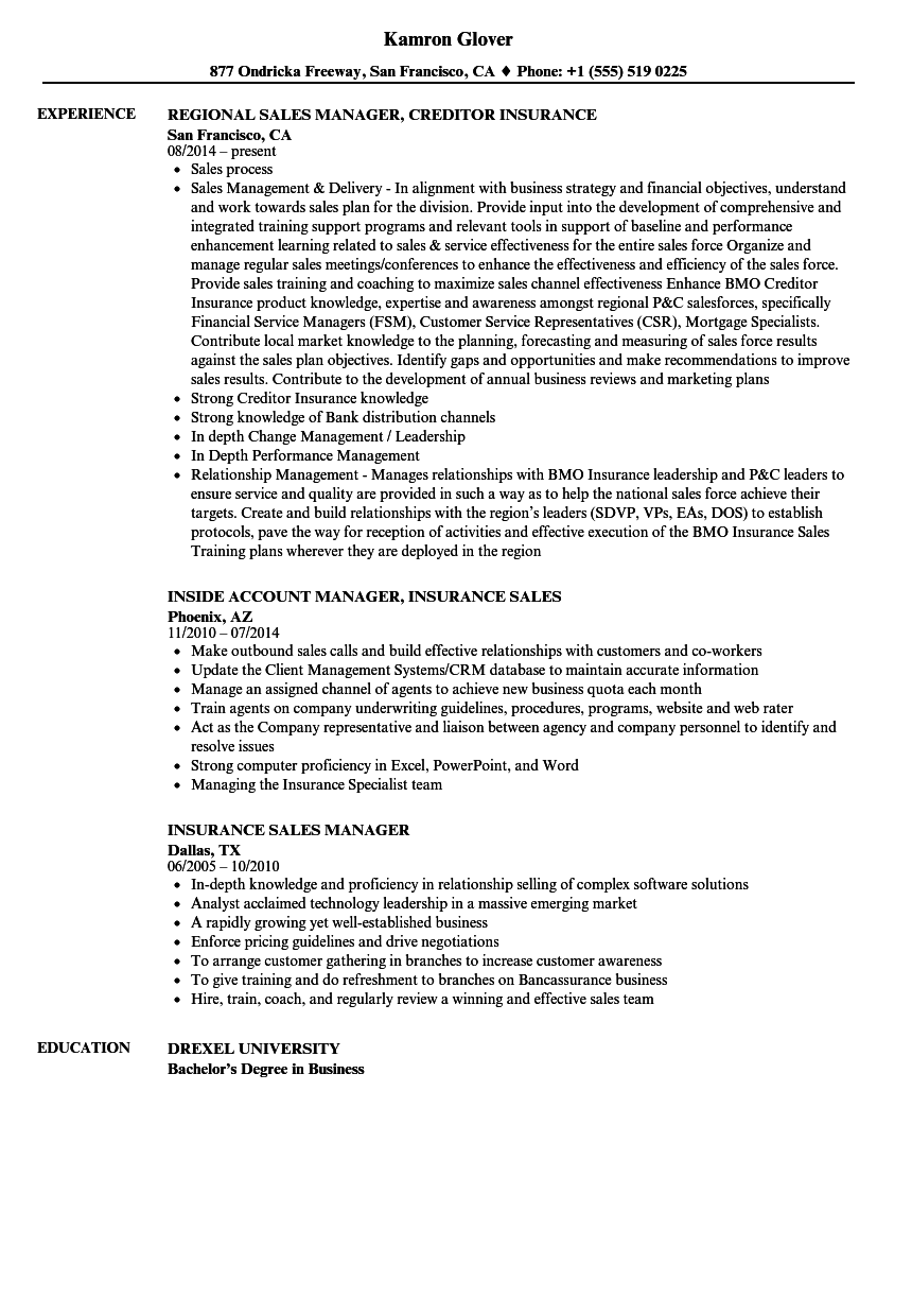Insurance Sales Manager Resume Samples | Velvet Jobs