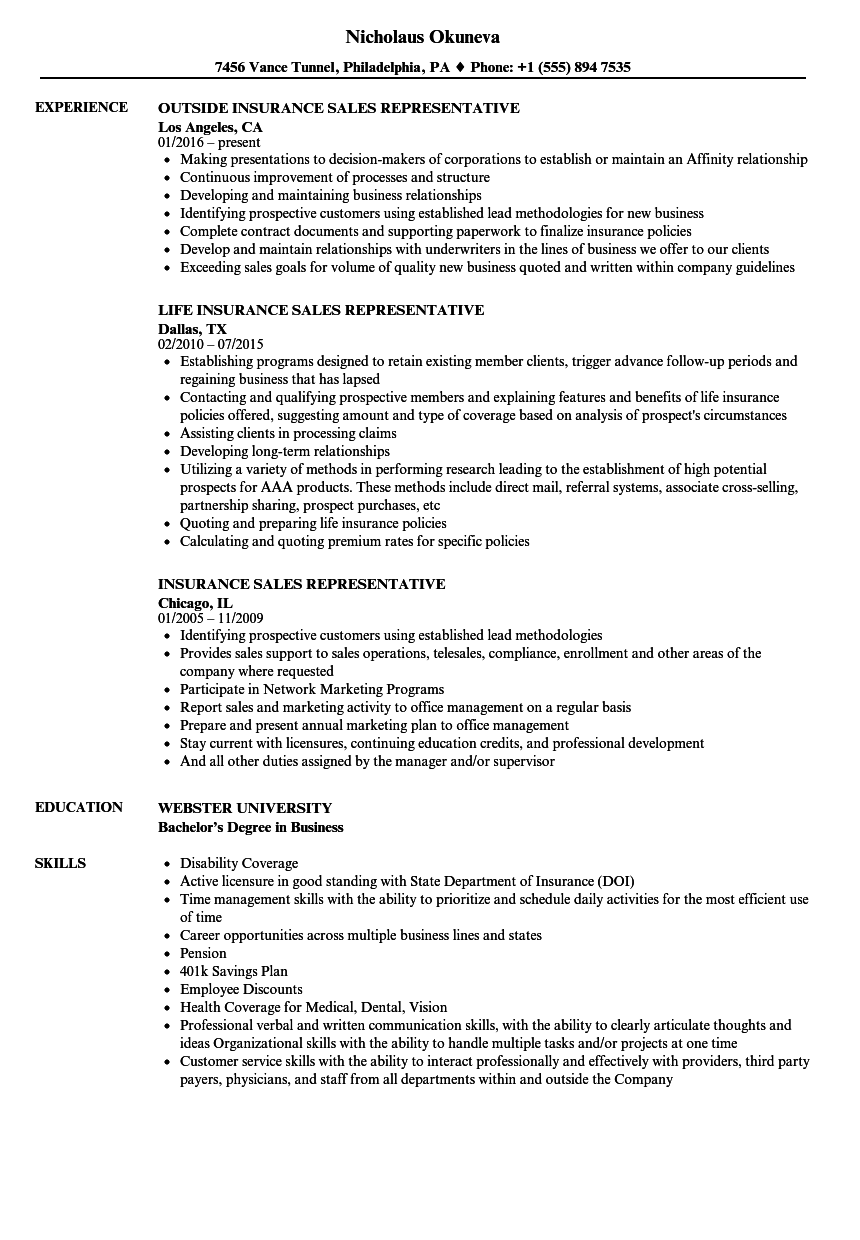 insurance sales representative resume samples