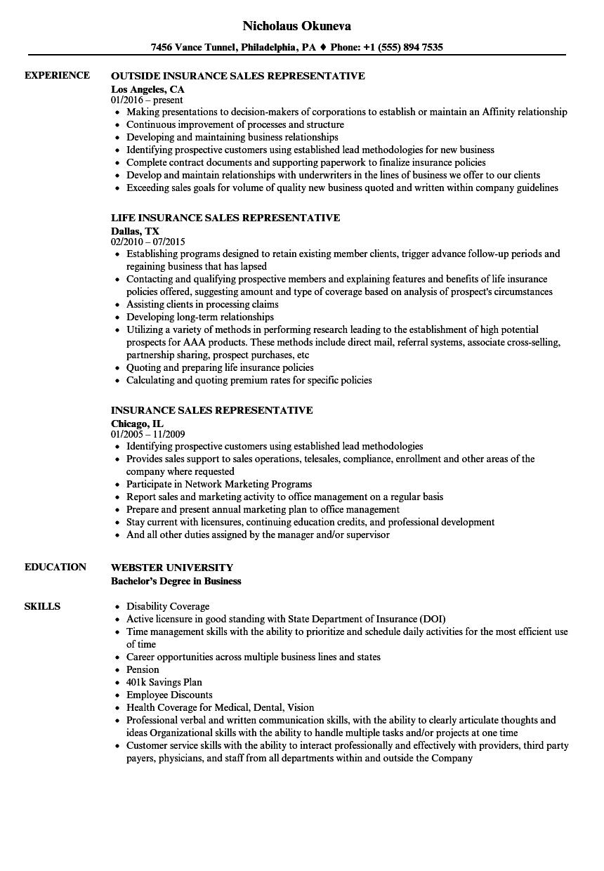 Resume Sample For Sales Representative
