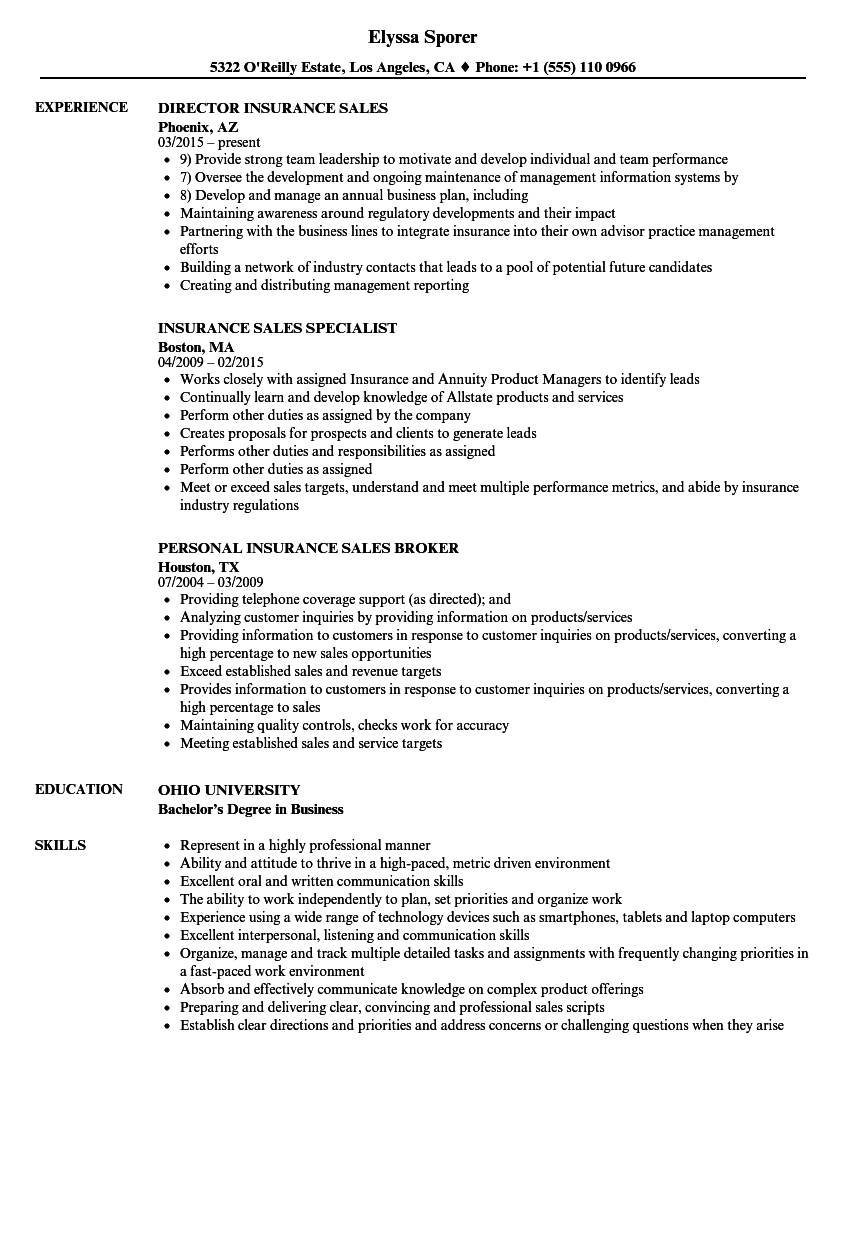 sample insurance sales resume