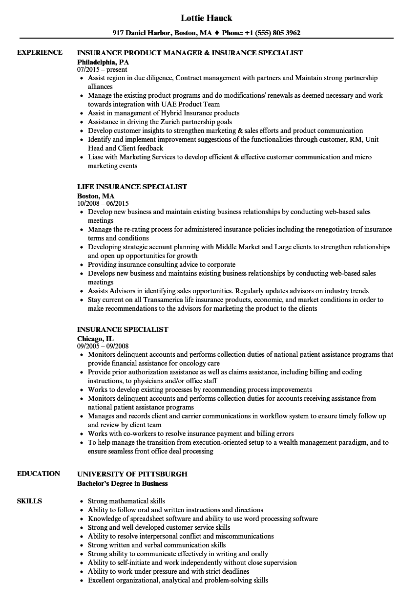 Insurance Specialist Resume Samples | Velvet Jobs